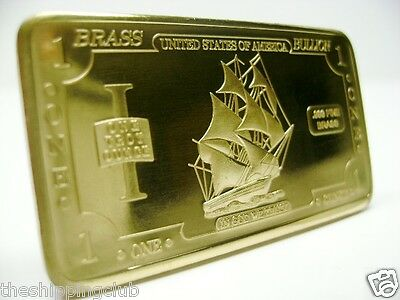 1 x BRASS USS IRONSIDES SHIP BAR 1 Troy oz Ounce .999 Fine Art Ingot Bullion