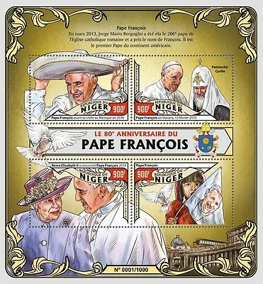 Niger 2016 MNH Pope Francis 80th Birthday Queen Elizabeth II 4v M/S Stamps