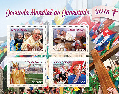 Sao Tome & Principe 2016 MNH World Youth Day Pope Francis Benedict 4v M/S Stamps