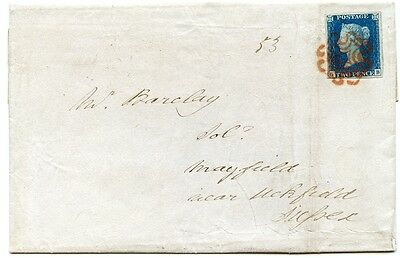 1840 2d blue pl.2 GB on cover with SUPERB London orange-red Maltese cross