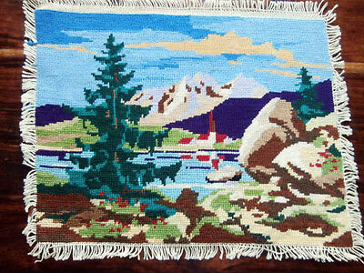 Vtg Beautiful completed needlepoint petit point lake mountain  landscape 10 by 8