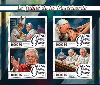 Guinea 2016 MNH Year Jubilee of Mercy 4v M/S Pope Francis Benedict XVI Stamps