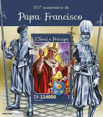 Sao Tome & Principe 2016 MNH Pope Francis 80th Birthday Anniv 1v S/S Stamps