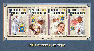 Central African Republic 2016 MNH Pope Francis 80th Birthday Anniv 4v M/S Stamps