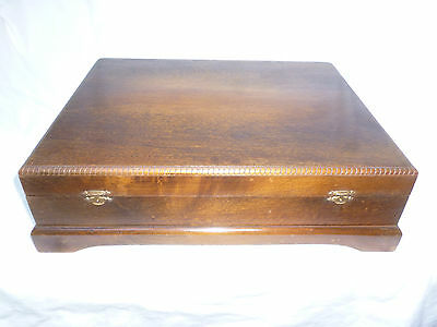 VINTAGE WOODEN CUTLERY CANTEEN BOX - 37cm wide - with inside lining etc- vg cond