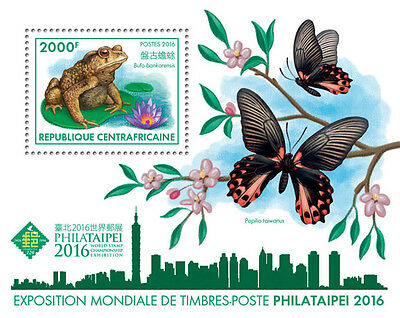 Central African Rep 2016 MNH Philataipei 2016 1v S/S Frogs Butterflies Stamps