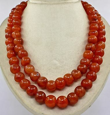 Big Size 2 Line 1702 Cts Natural Orange Carnelian  Round Beads Necklace