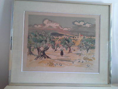"Yves Brayer Lithographie Originale Signee ""champs D'oliviers En Provence"""