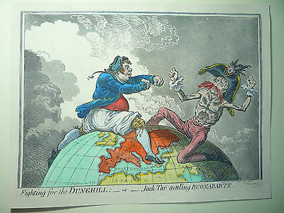 """James Gillray. """" Fighting For The Dunghill."""" Very Rare."""