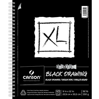 "Canson Xl Recycled Spiral Drawing Paper Pad 9""X12"" Black 40 Sheets 77428"
