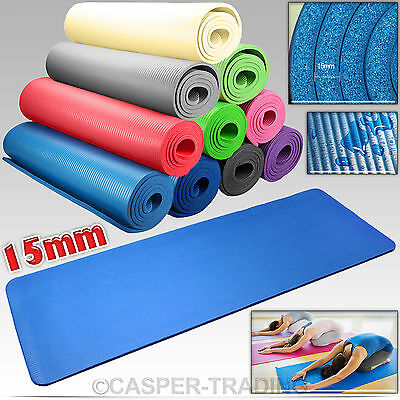 15mm Thick Yoga Mat Exercise Fitness Workout NBR Non-slip Gym Physio Camping Pad