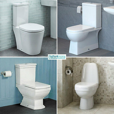 Toilet WC Close Coupled Pan Soft Close Seat White Ceramic Bathroom Cloakroom