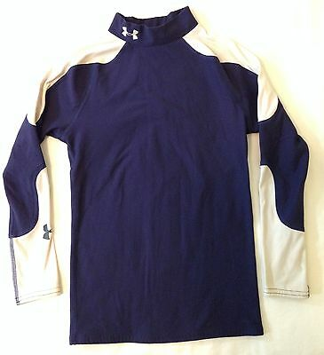 Under Armour Cold Gear Compression Mock Turtleneck Navy Blue & White Youth Lg