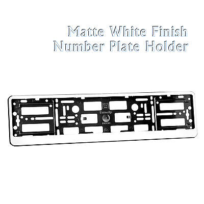 Matte White Effect Car Number Plate Holder Surround Frame ABS PC for Any Car
