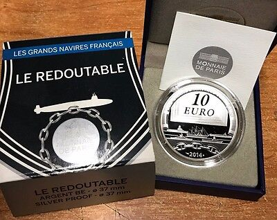 France 2014 REDOUTABLE 10 euro Silver Proof - Francia € silber argent submarine