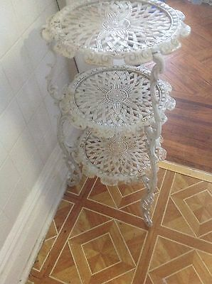 3 Shabby Chic White Tier Shelves Indoor Outdoor Table Plant Stand