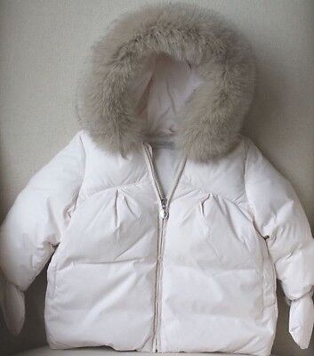 Baby Dior Shell Padded Jacket With Fur Trim Hood 9 Months