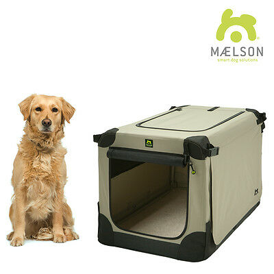 Maelson Soft Kennel Indoor Kennel Fabric Foldable Car Crate TAN