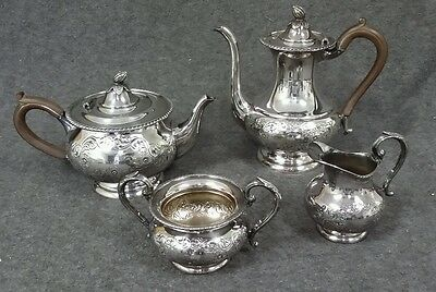 Sheffield Silverplate Hand Chased Tea Coffee Set 4 Pieces Antique