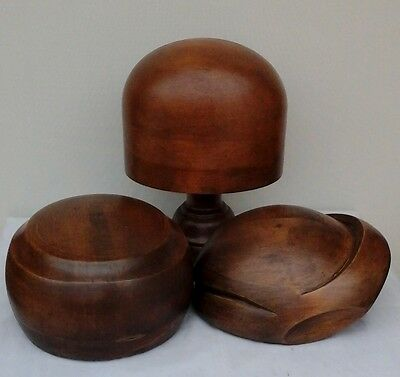 Collection of 3 Vintage Wooden Hat Blocks with a Stand, Millinery/Shop Display.