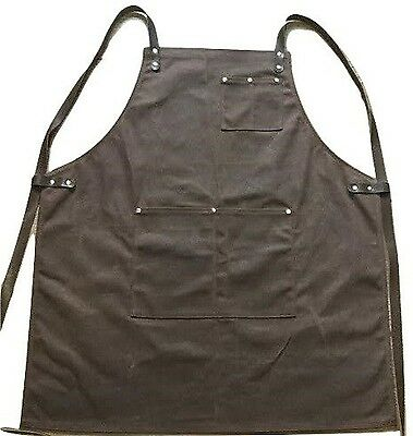 Craftsmans Guild Waxed Canvas Heavy Duty Apron - Shop Utility Tool BBQ Chef B...