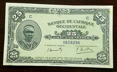 1942 French West Africa 25 Francs Note P30 Airplane Au-unc