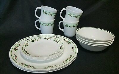 CORELLE WINTER HOLLY 16 Piece Set for Four Christmas Dishes ...