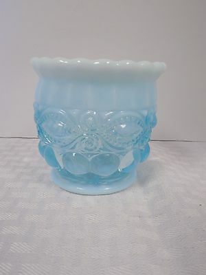 Mosser Aqua Blue Opalescent Glass Eye Winker Sugar Bowl