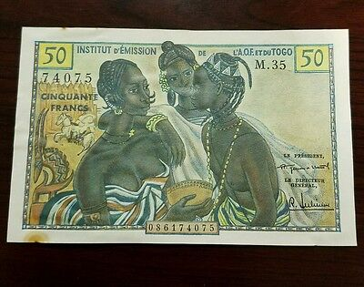 1956 French West Africa Togo 50 Francs Note Au-unc