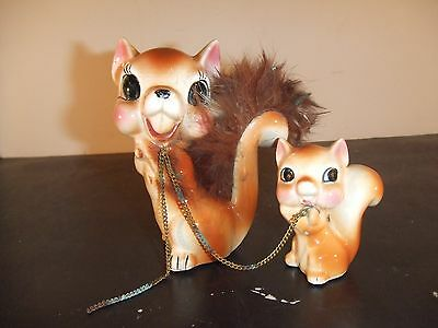 Antique Ceramic Squirrel With Baby Real Fur On Tail Japan (1 Baby Missing)