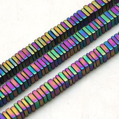 100 PREMIUM QUALITY  FROSTED RAINBOW FLAT SQUARE HEMATITE BEADS 3mm
