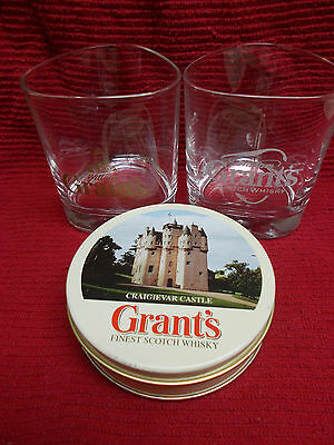 2 GRANTS SCOTCH WHISKY GLASSES &  SET OF 6 TIN COASTERS - CASTLES of SCOTLAND