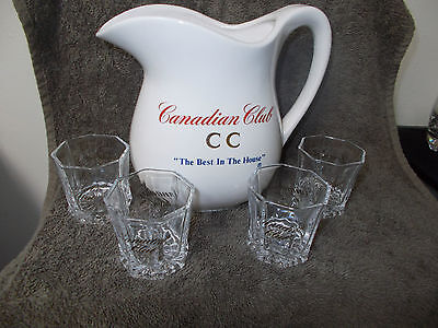 CANADIAN CLUB RYE WHISKY DECANTER & SET of 4 OCTAGONAL SHOT GLASSES