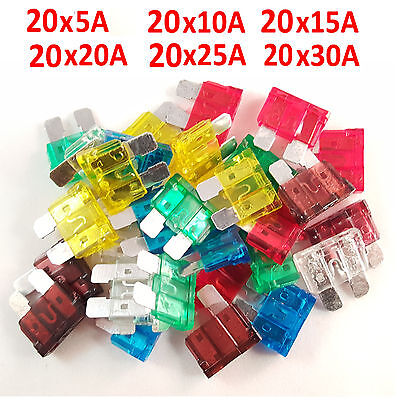 120 pc Large Standard Car Fuse Set 5/10/15/20/25/30amp Vehicle/Blade /Spade