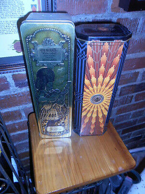 Set of TWO  SCOTCH WHISKY TIN CANISTERS - DEWAR'S & TEACHER'S