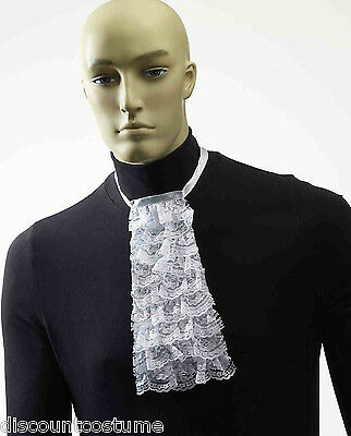 WHITE LACE JABOT COLLAR COLONIAL / 60s ADULT HALLOWEEN COSTUME ACCESSORY