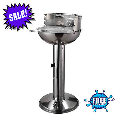 Barbecue Grill Stainless Steel BBQ Charcoal Pedestal Garden Silver High Quality