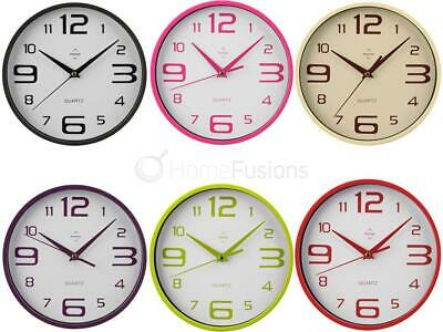 Retro Round Plastic Wall Clock Hanging Quartz Clocks Large Digit Number Analogue