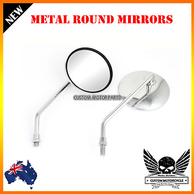 Chrome universal motorcycle round 8mm rear view side mirror Harley Suzuki Yamaha