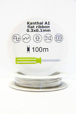 Kanthal A1 reel Ribbon Resistance Flat Coil wire 0.3 X 0.1mm 100m 328ft spool