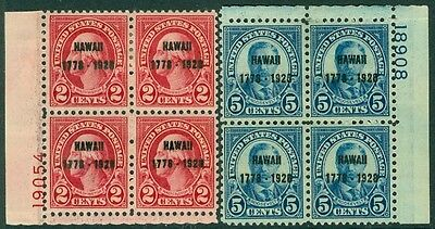 USA : 1928. Scott #647-48 P/Bs. Both Fresh & Very Fine, Mint OG. Catalog $400.00
