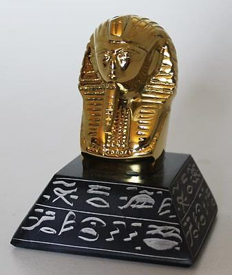 "4"" Egyptian Brass and Natural Stone Sculpture of King Tut + Hand Carved #1609"