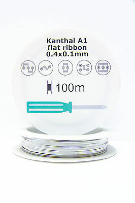 Kanthal A1 reel Ribbon Resistance Flat Coil wire 0.4 X 0.1mm 100m 328ft spool