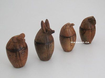 "SET of 4 Miniature 2½"" Egyptian Clay Canopic Jars - Sons of God Horus + Handmade"