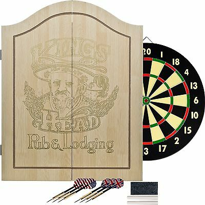 Official Dart Board And Cabinet Dartboard With Darts Scoreboard Set Wood Game