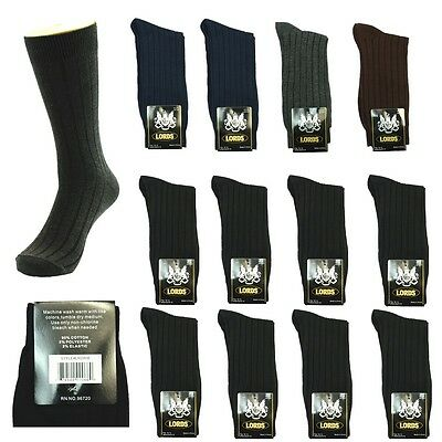 New Lords Ribbed 12 Pairs Mens Dress Socks Fashion Multi Color Cotton Size 10-13