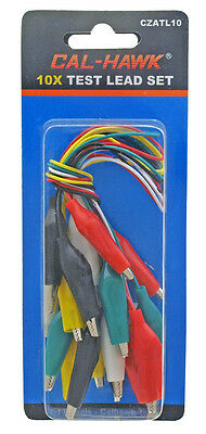 NEW 10pc Test Lead Double Ended Crocodile Alligator Jumper Probe Wire 26 AWG