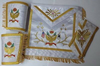 Masonic SCOTTISH RITE 33rd Degree A.A.S.R Set Apron,Collar & gauntlets Wing Up