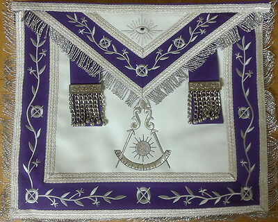 Masonic Apron -Past Master Apron Royal Purple Silver Embroidered