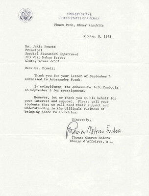 Thomas Ostrom Enders - Typed Letter Signed 10/08/1973